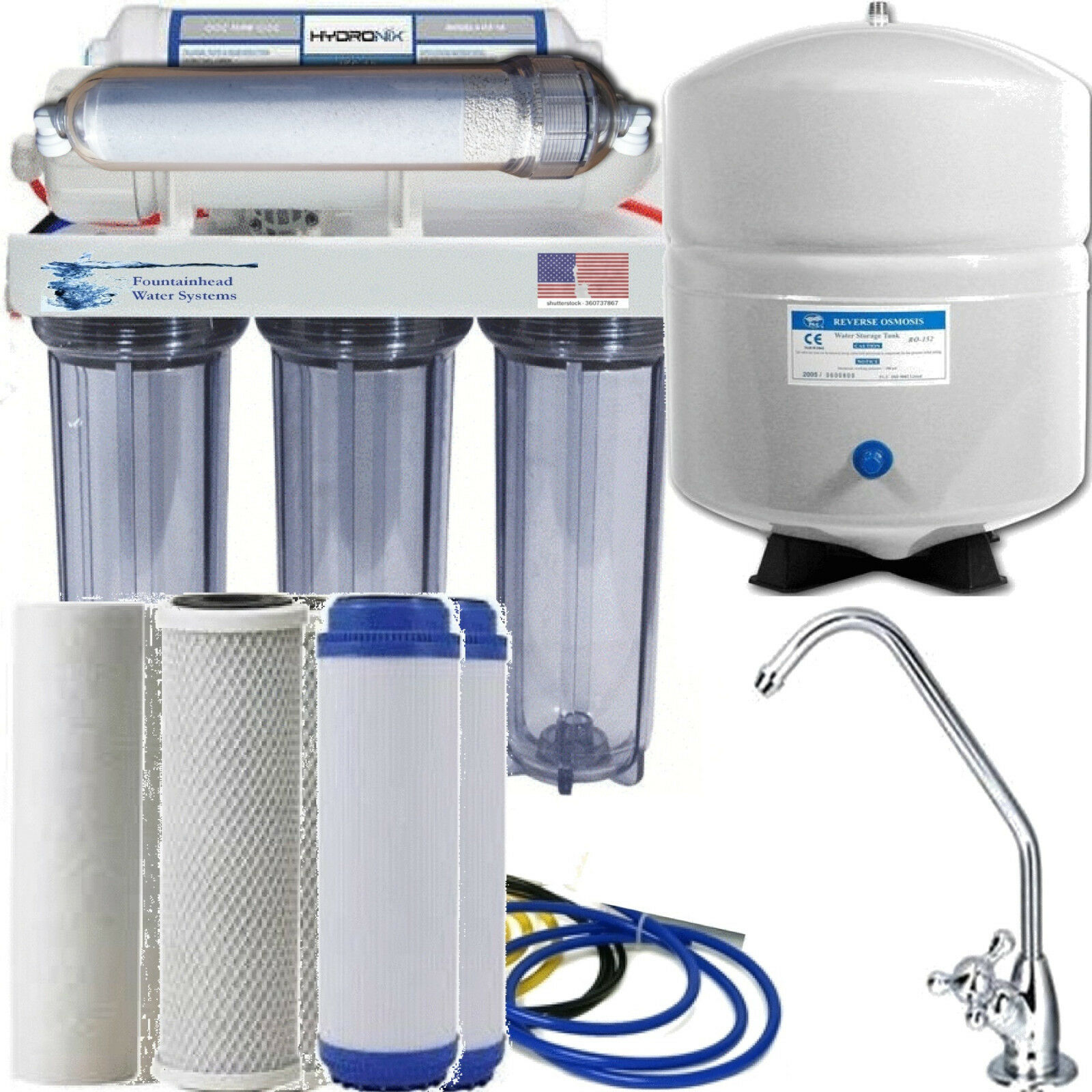 Alkaline Remineralizer Reverse Osmosis 50 GPD Clear. Faucet Choice Ex Filters