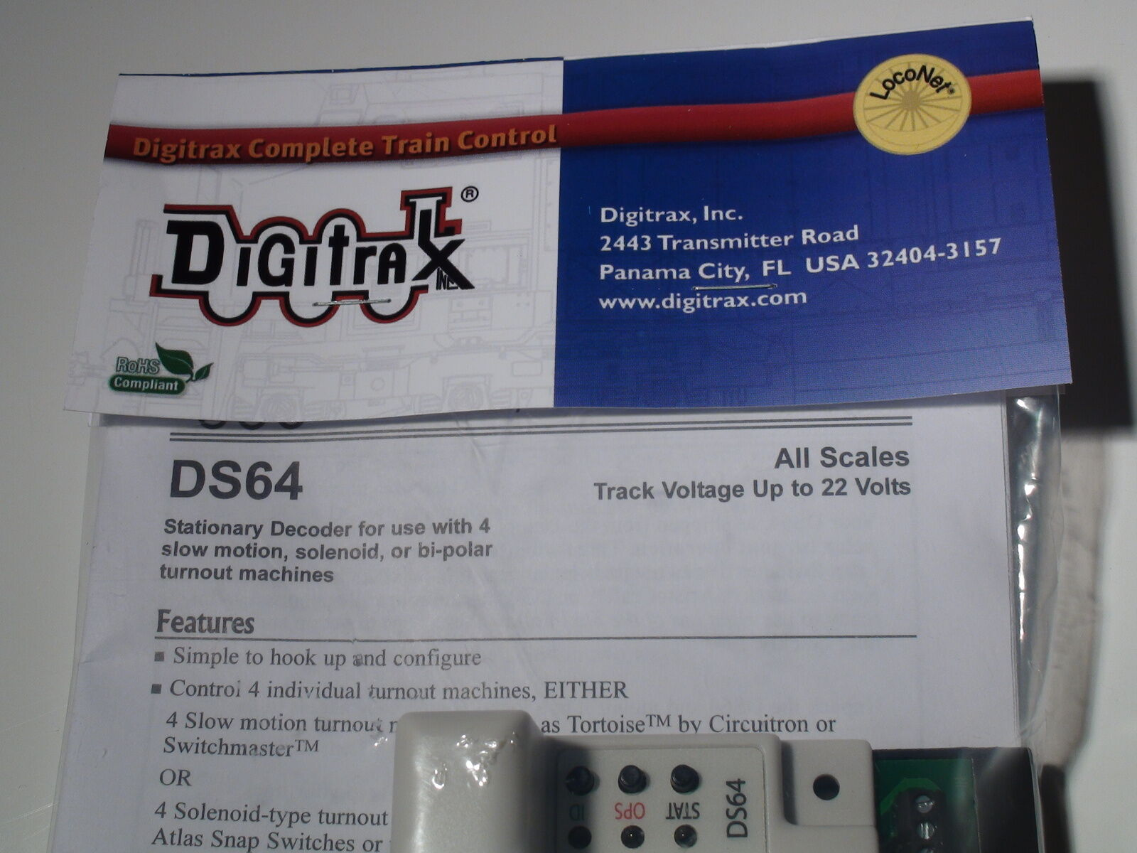 DIGITRAX DS64 Quad Stationary Decoder BIGDISCOUNTTRAINS