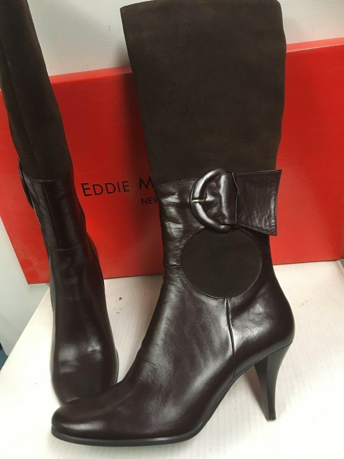 Eddie Marc Buckle Heel Stiefel Coffee with Buckle 38  Größe EU 38 Buckle US 7 cc4541