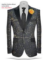 Angelino Mens Print Peak Lapel Fashion Sport Coat Blazer Jacket Slim Fit