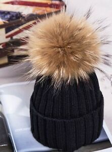 Women Winter Artificial Racoon Fur Pom Pom Ball Knit Beanie Ski Cap ... 0dd28e21b6