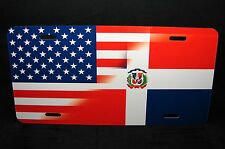 DOMINICAN REPUBLIC  AMERICAN FLAG METAL LICENSE PLATE TAG FOR CARS