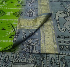 -ps58244 Search For Flights Vintage Green Saree Floral Printed Pure Silk Craft Deco Fabric 5 Yard Fabric Antiques