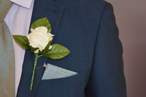 Artificial IVORY /& RED Silk Rose with Diamante Wedding Groom Buttonhole Flower
