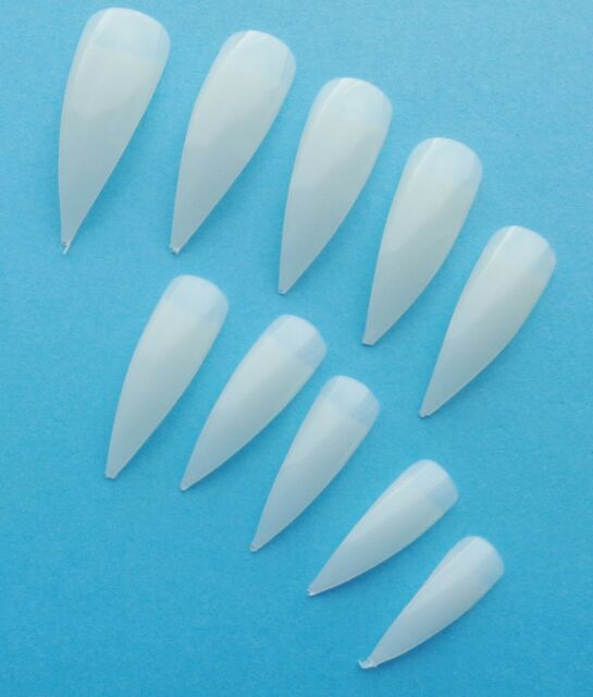 """100 NATURAL CURVED Long Stiletto Point Salon False NAIL TIPS """"PINK CANDY"""""""