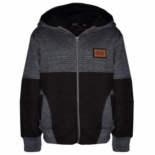 New Kids Hooded Comfortable Corduroy Panel Sports Zip Up Tracksuit