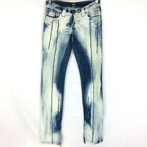 Versace-Jeans-Couture-Size-24-38-Womens-Low-Rise-Denim-Distressed-Acid-Wash
