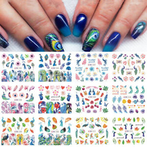Colorful-Leaf-Water-Transfer-Decals-Nail-Art-Decoration-Peacock-Nail-Sticker