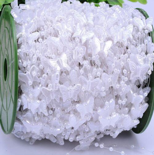5m weiße Girlande mit Perlen und Schmetterlingen Deko Perlenvorhang Hochzeit