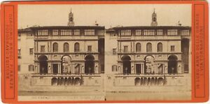 Florence-Firenze-Italia-Foto-Stereo-Vintage-Albumina-Ca-1875