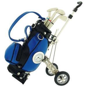 Miniature-Black-Blue-Golf-Cart-amp-Club-Pens-Collectors-Clock-Gift-Set-IMP431BB