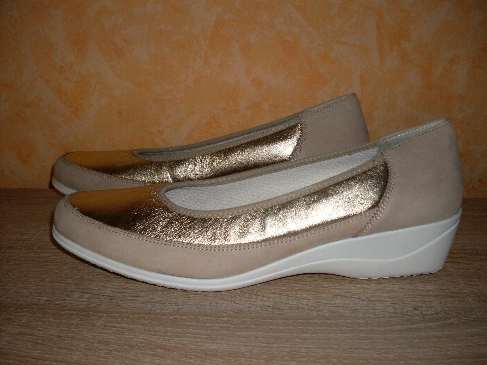 Femmes Chaussure élégante Ara Slipper NEUF T. 42 8 H BEIGE OR & CUIR Très Confortable