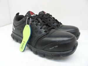 Reebok Women's Sublite Safety Cushion Work Shoes RB047 Black Leather Size 5.5M