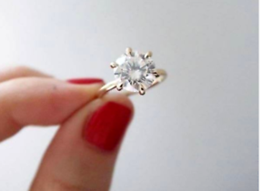 Details about  /2.ct Round Brilliant Cut Moissanite Women Engagement Ring 10k Solid Yellow Gold