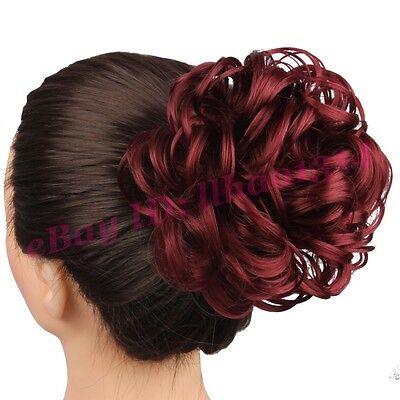 Messy Curly Hair Bun Women's Hair Extension Clip in Hairpiece Drawstring Chignon