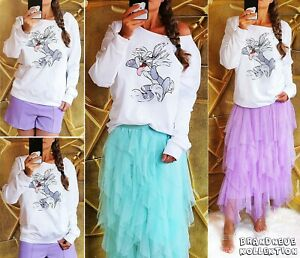 NEU-36-38-S-M-TOP-Sweatshirt-Bugs-Bunny-Print-Weiss-Grau-Shirt-Blogger-Pullover