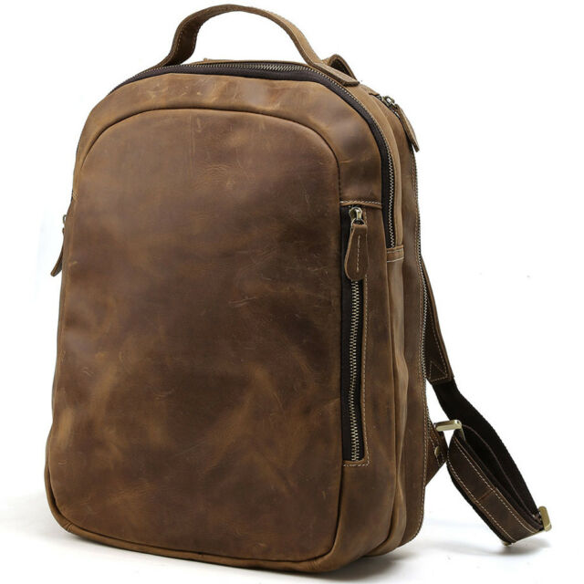 Men S Genuine Leather Laptop School Travel Backpack Camping Notebook Brown Bag