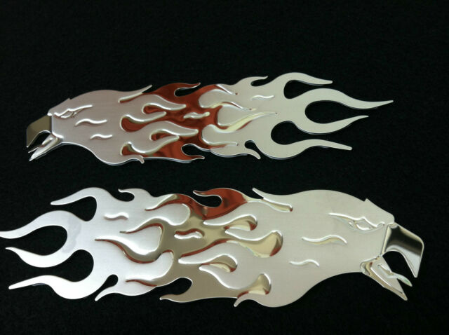 2 Bully Stainless Steel Chrome Screaming Eagle Flame Trim 3-D Emblem 3M Adhesive
