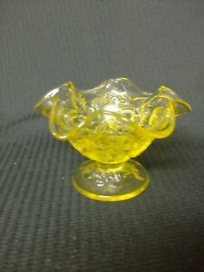 "Art Glass Pottery & Glass Fenton Topaz Strawberry Footed 2 3/4"" Tall"