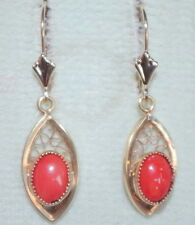 VINTAGE 14K / 14K GF 35MM UNDYED RED ITALIAN CORAL TEAR DROP LEVER BACK EARRINGS