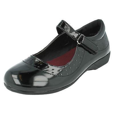 Girls Black Spot On Rip Tape Shoes UK Sizes 10-2 H2337