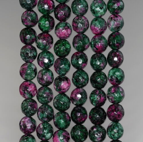 """8MM SESAME JASPER GEMSTONE RUBY ZOISITE FACETED ROUND LOOSE BEADS 15/"""""""