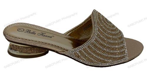 Womens Sandals Low Heel Rhinestone Glitter Bling Open Toe Slip On Slipper Party