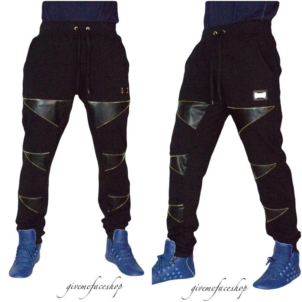 """Temps Est Argent G Pantalon De Survêtement """"zip-star"""" En Cuir Synthétique Survêtement Pantalon, Noir Pour Homme"""
