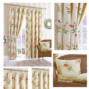 Image Is Loading Summer Garden Pencil Pleat Lined Curtains Amp Cushions