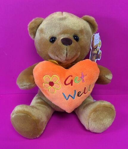 """10/""""  /""""Get Well/"""" Brown Teddy Bear Plush Orange Heart-Stuffed Animal//Oso De Peluch"""
