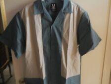 Retro Mens Hilton Bowling Shirt 40s look Jade Khaki New Swing Rockabilly Med VLV