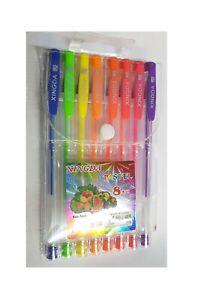 Neu-Farbe-Gel-Stift-Set-in-Plastik-Etui-Fein-Tinte-Ballpoint-Pens-Pack-von-8