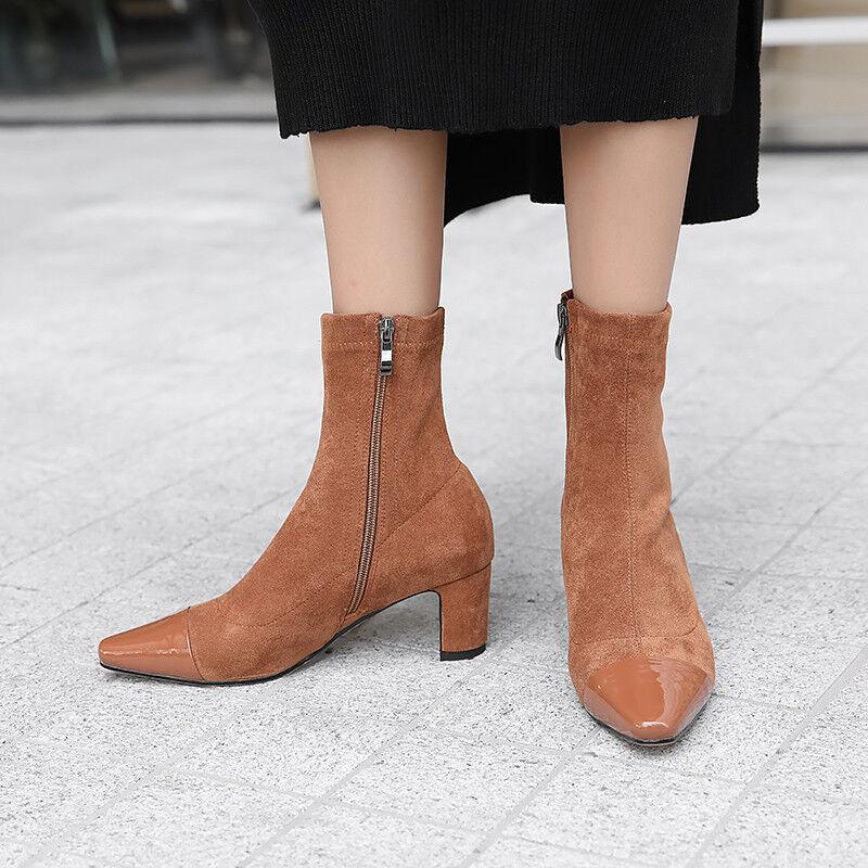 Femme Oxford Bottines à Talon Aiguille femmes Bout Pointu Fermeture Éclair Latérale Mollet chaussures Chaussons