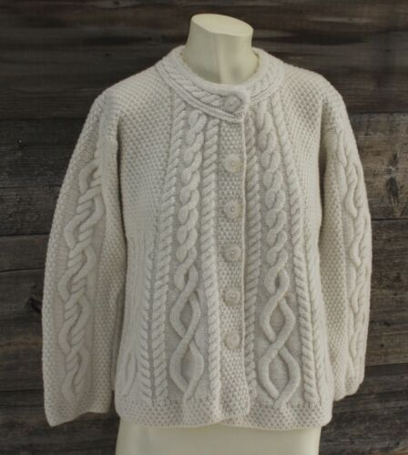 Inis Crafts Cable Knit Merino Wool Sweater Size Sm