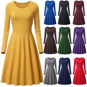 Women-O-neck-Long-Sleeve-High-Waist-Swing-Skater-A-Line-Casual-Flare-Skirt-Dress
