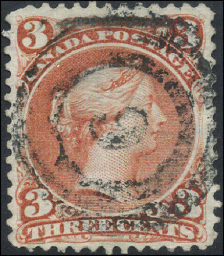 Canada #25 used F-VF 1868 Queen Victoria 3c red Large Queen 2-ring 9 Kingston