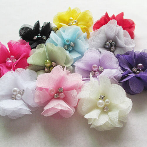 12PCS 6CM Chiffon Ribbon Flowers W/ Beads Appliques Wedding Decor Lots Bulk A434