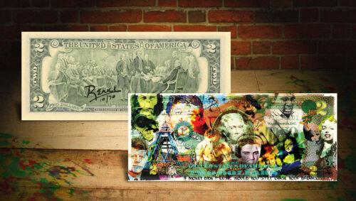 COLLAGE MONEY DREAMS by RENCY Pop Art Giclee on $2 Bill Elvis Ali #//70 Banksy