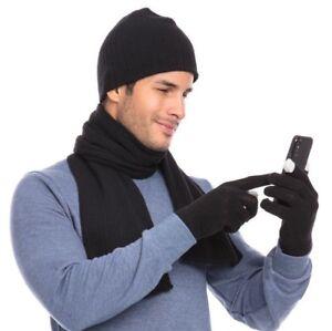 Casaba Winter 3 Piece Set Knit Beanie Hat Scarf Touchscreen Gloves for Men Women