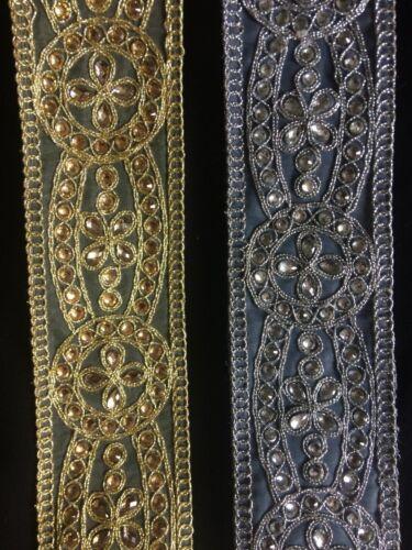 Indian Ribete de Encaje 60mm 6cm Dorado Plateado Con Cuentas Perla Adorno Boda Trajes neto