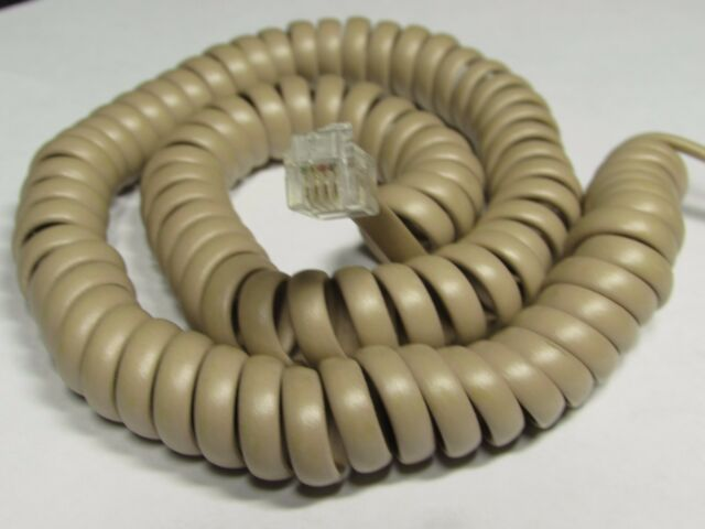Beige 25 Ft LONG Phone Handset Cord Coil Curly Receiver Telephone Cable Tan
