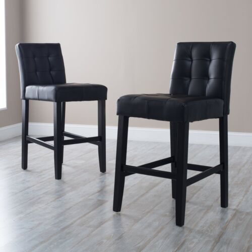 """Set of 2 Black Tufted Bonded Leather Armless Counter Stools w// Backs 26/"""" Seat Ht"""