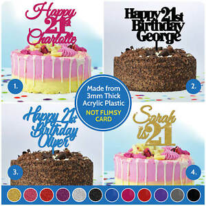 Image Is Loading 21st Birthday Cake Topper PERSONALISED Decoration Twenty