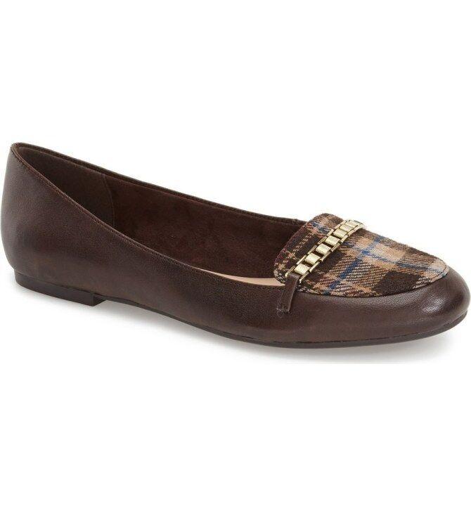 J5803 New Women's Bella Vita Thora Dark Brown Plaid Leather Flat 8 W
