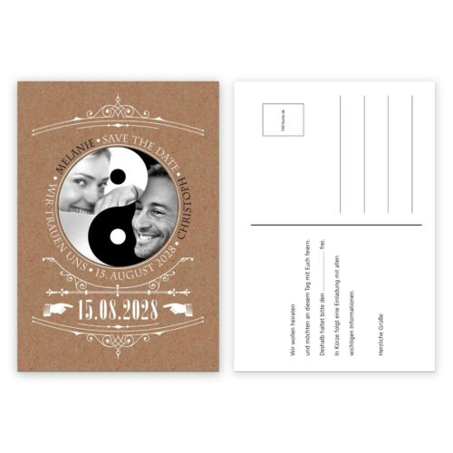 Einladungskarte für Hochzeit Silber Gold – Yin Yang pers StD Vintage 1