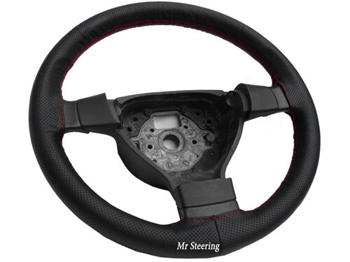 FOR VAUXHALL ASTRA MK4 98-04 BLACK LEATHER STEERING WHEEL COVER GREY STITCH NEW