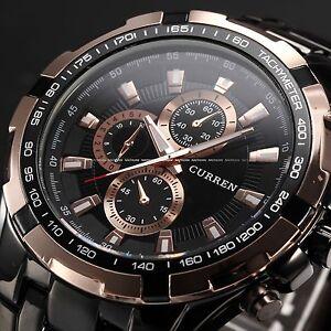 CURREN-Rose-Gold-Black-Mens-Stainless-Steel-Analog-Sport-Quartz-Wrist-Watch