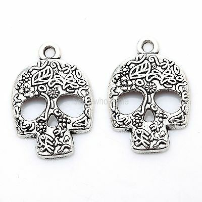 Hot Sale 20Pcs Tibetan Silver Skull Charms Pendants For Jewelry Making New 24mm