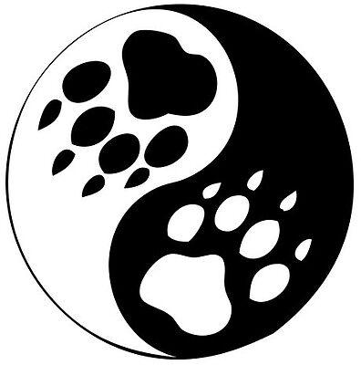 (Nr167)YIN YANG HARMONY ANIMAL PAW SIGN DECAL VINYL STICKER WINDOW TRUCK CAR