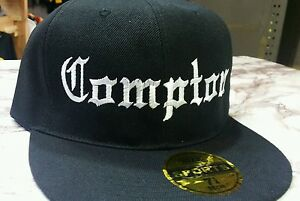 80d9e46a785 Image is loading New-Compton-Embroidery-Black-FLAT-Peak-SNAPBACK-Hat-